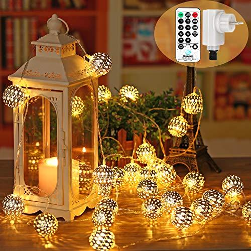 NEXVIN 30er LED Marokkanische Lichterkette, 9m LED Kugel Lichterkette Strombetrieben mit Fernbedienung und Timer, Wasserdicht Globe Lichterketten Warmweiß mit 8 Modi