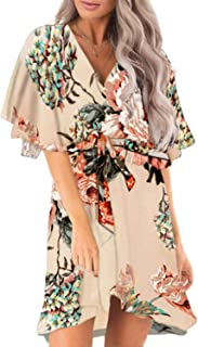 Dokotoo Womens Floral Print V Neck Short Ruffle Sleeve Dress
