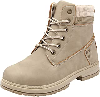 Women's Round Toe Waterproof Lace up Work Combat Boots...