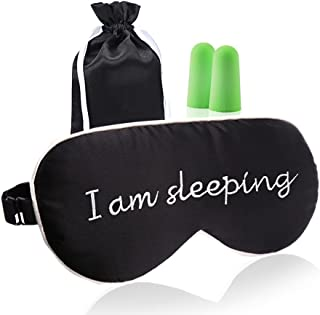Lonfrote Natural Silk Sleep Mask Eye Masks & Blindford with Carry Pouch and Ear Plugs (I am Sleeping)