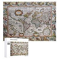 INOV 旧式な世界地図 ジグソーパズル 木製パズル 500ピース キッズ 学習 認知 玩具 大人 ブレインティー 知育 puzzle (38 x 52 cm)