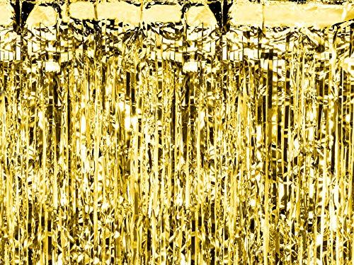 PartyDeco Lametta Vorhang Folie Glitzer - Gold - 90 x 250 cm - Metallic Tinsel Vorhänge für Weihnachtsbaum Weihnachten Geburtstag Hochzeit - Deko Dekoration zu Weihnachten - Gold