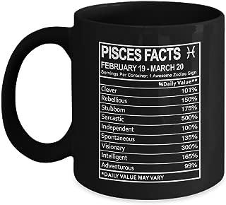Zodiac Sign Gifts Pisces Nutritional Facts Label Coffee Mug - Zodiac Birthday Gag Gift for Men & Women - Gift Coffee Mug Tea Cup Black 11 Ounce Ceramic