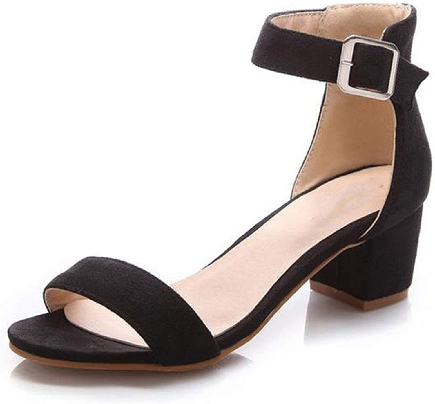 Women High Heel Sandals Women Open Peep Toe shoes Womens Lady Suede Leather Brand shoes Size 34-43