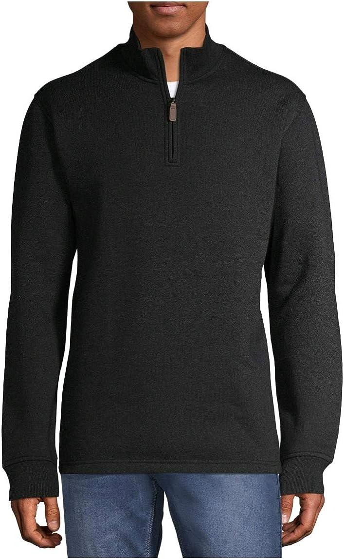 George Clothing Black Heather Quarter Zip Fleece Pullover