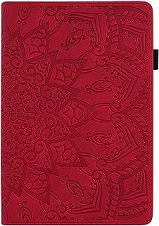 Hirkase Samsung T580 T585 Tab A6 10.1 Pulgadas, Tableta Fundaestuche Protector Ultrafino en Relieve Samsung 10.1 Pulgadas Pulgadas(Rojo)