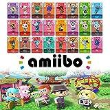 SOAREO 24 pièces de Carte de Personnage de villageois Rare ACNH NFC Mini Game Tag pour Animal Crossing New Horizons Switch/Switch Lite/Wii U, avec boîte de Rangement en Cristal,1.250.850.05 Pouces