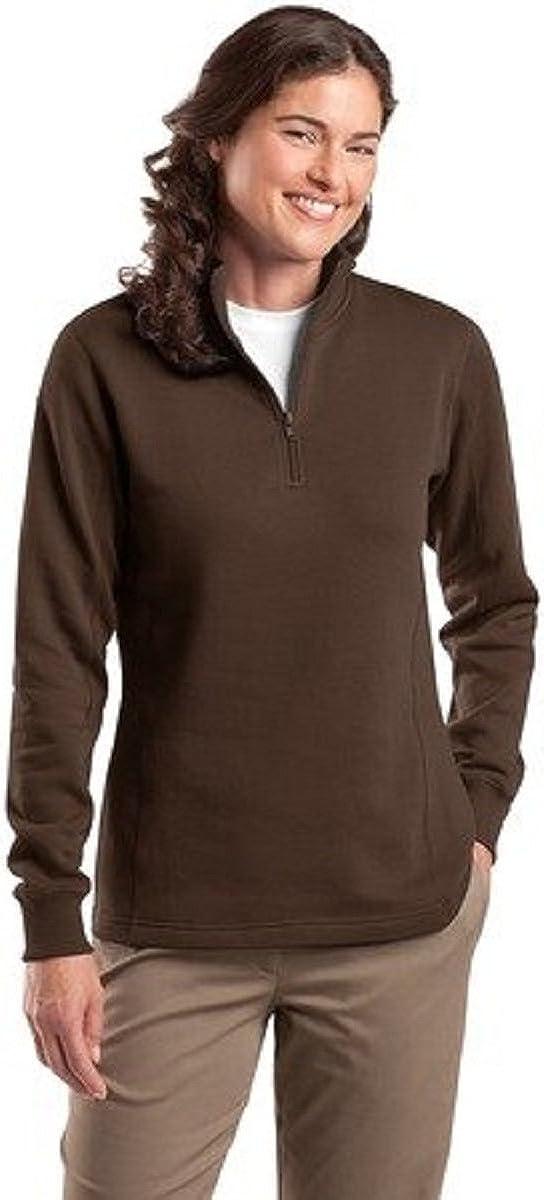 Sport-Tek Ladies 1/4 Zip Sweatshirt, Brown, X-Large