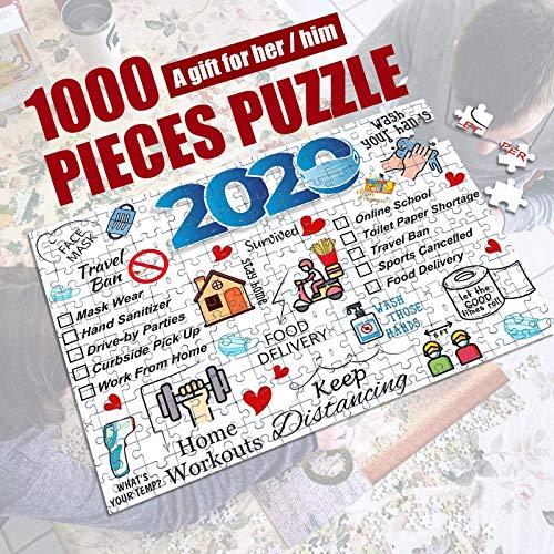 2020 Year of 2021 New Year Puzzles, 1000 Piezas de Rompecabezas para Adultos, Ilustraciones de Juegos para Adultos, Adolescentes, niños, Juegos de Mesa, Juguetes educativos (A)