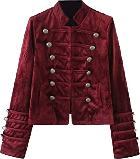 XiaoShop Womens Retro Style Stand Collar Velour Middle Ages Bomber Jackets