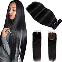 FQ Peruvian Straight Human Hair Bundles with Closure(24 26 28+20) Middle Part Unprocessed Virgin Human Hair 3 Bundles with Closure 10A Straight Hair Weave Bundles with Lace Closure Natural Color