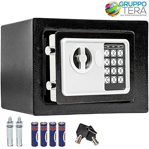 Bakaji Cassaforte a Muro Numerica Digitale 23 x 17 x 17 cm Cassetta di Sicurezza Elettronica Casa Albergo Hotel Safe + 4 x AA Batterie e Chiavi di Emergenza Colore Grigio Scuro