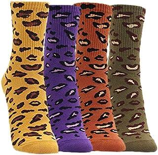 TTD, 4 pares de calcetines de invierno de mujer estampado de leopardo suave cálido ocasional de punto de algodón calcetines de algodón