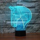 Lámpara de ilusión de cabeza de caballo 3D, Koreyoshi 7 cambio de color luz de noche decoración del hogar dormitorio acrílico LED Art lámpara