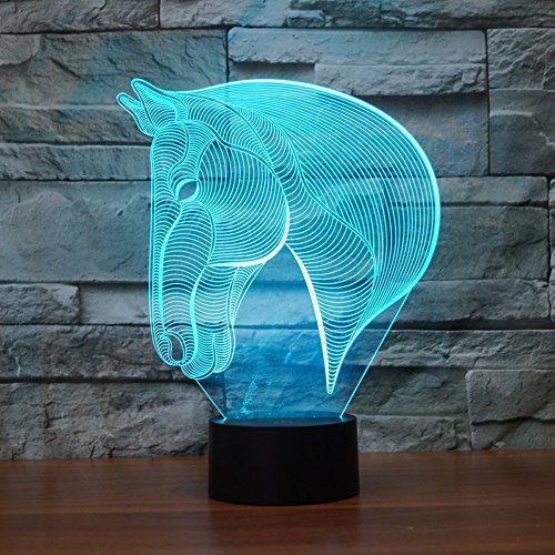 Horse Head 3D Illusion Lamp, Koreyoshi7 Color Change Night Light Home Decor Bedroom Acrylic LED Art Lamp