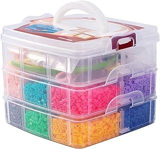 PandaHall Lote de 5000 Abalorios 12 Colores aleatorios Melty Beads Repuestos con Accesorios para niños incluidos Accesorios de Banda del Pelo Pinzas de Pelo de cocodrilo Anillo de plastico hama Beads