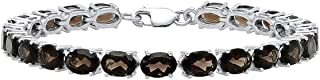 5X7 MM Each Oval Smoky Quartz Ladies Tennis Bracelet, Sterling Silver