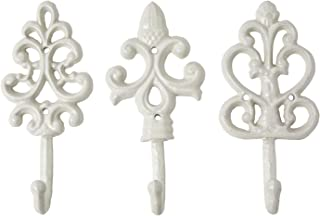 Antique Chic Cast Iron Decorative Wall Hooks - Rustic - Shabby French Country Charm - Large Decorative Hanging Hooks - Set of 3 - Screws and Anchors for Mounting Included - Powder Coat White
