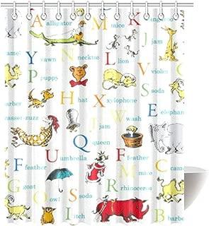 KOLATREE Dr Seuss ABC Alphabet Words Adventure Fabric Bathroom Decor for Fun Kids Educational Bath Colorful Nostalgic