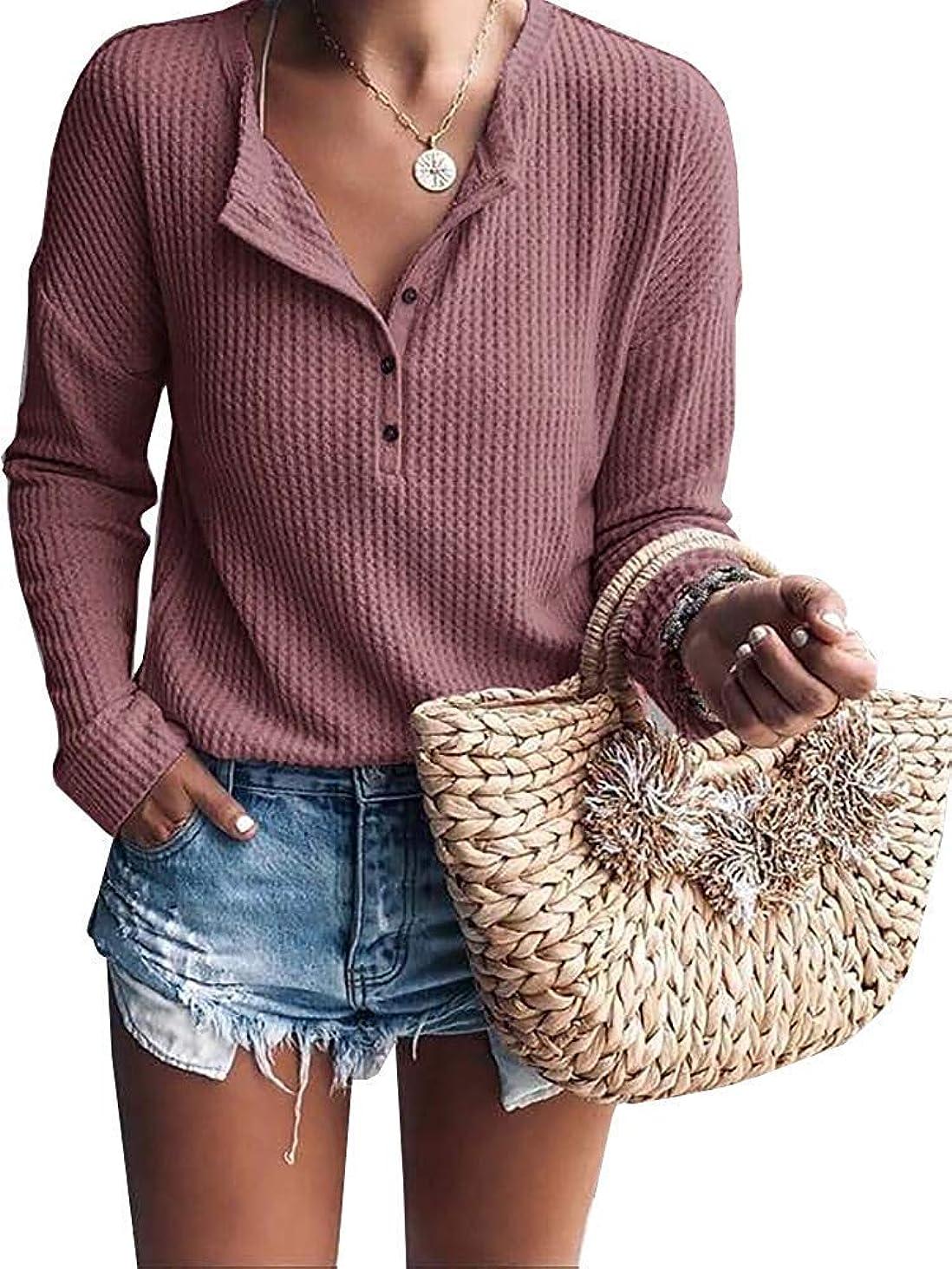 Mafulus Womens Waffle Knit Tunic Tops Loose Long Sleeve Button Up V Neck Henley Shirts