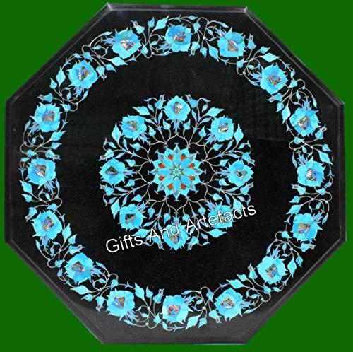 Gifts And Artefacts - Mesa de centro de mármol, 21 pulgadas, con incrustaciones de piedras preciosas turquesa