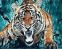 5D DIYダイヤモンドの絵画ブレイジーラインストーン刺繍ダイヤモンドアートのための動物虎クロスステッチキット家の装飾30x40cmフレームレス