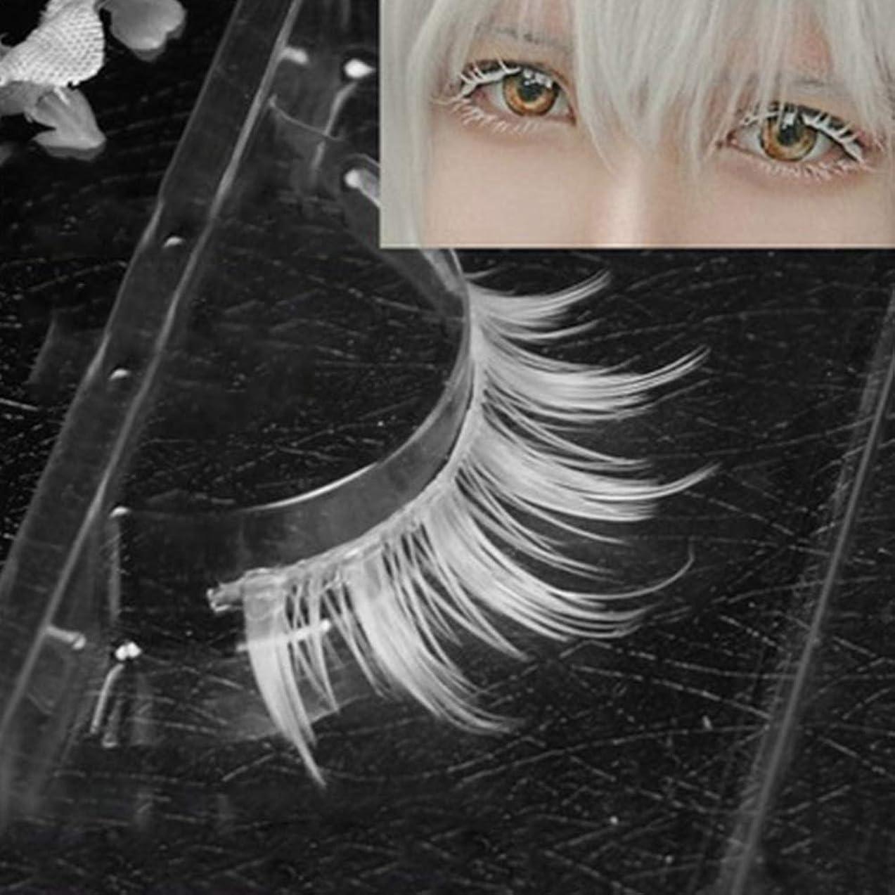 持つに向けて出発必需品Murakush 偽まつげ 1ペア/セット ホワイト 合成繊維 カーリング 厚い 3D ナチュラル ロング 手作り 女性 レディーズ ファッション コスプレ 仮装 目 メイクアップ 美容院 サロン ツール