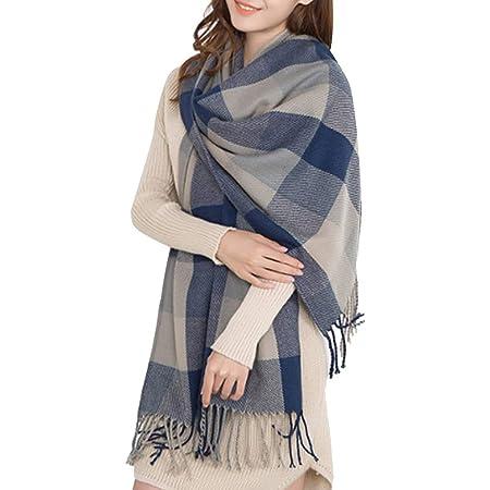 Miss Lulu Women Scarves Winter Long Soft Warm Tartan Check Wraps Wool Spinning Tassel Shawl Stole Scarf