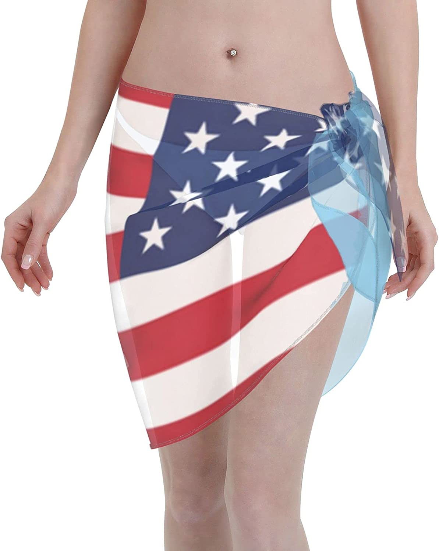 American Guatemala Flag Women Short Sarongs Beach Wrap Swimsuit Cover Ups Sheer Short Skirt Bikini Chiffon Scarf Black