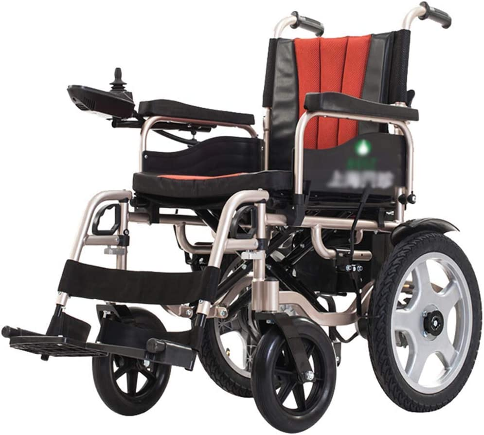 BXZ Silla de ruedas eléctrica, plegable y ligero silla de ruedas eléctrica, Anchura del asiento 45 cm, 360 ° palanca de mando, capacidad de peso 175kg