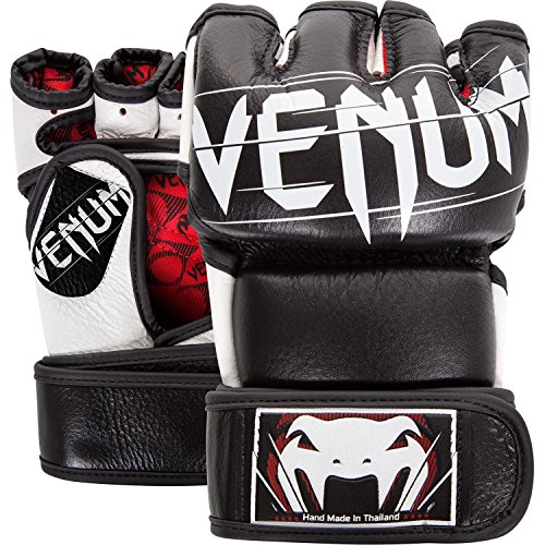 red, white and black mma gloves