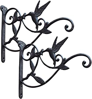Cast Iron Plant Hooks Vintage Wall Hanging Brackets for Lanterns,Planters,Flower Pot Baskets,Wind Chimes,Wind Spinners,Bird Feeders,Garden Patio Lawn Indoor Outdoor Decor (Black 2 Pack)