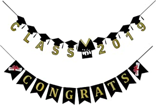 Congrats Class of 2019 Banner - Graduation Party Supplies 2019 - no DIY Required - Perfect High School, Home, College, Prom 2019 Graduation Decorations