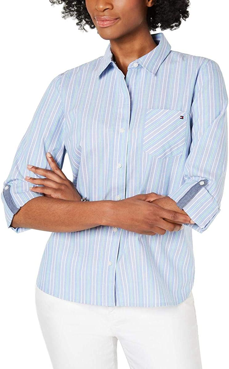 TOMMY HILFIGER Women's Cotton Striped Roll-tab Button Down Shirt Top