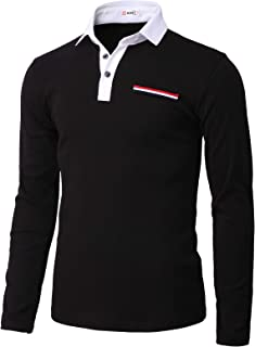 H2H Mens Casual Slim Fit Polo Shirt Tops Lightweight Longsleeve Basic Designed