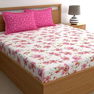 Home Ecstasy 100% Cotton Double bedsheets with 2 Pillow Covers Cotton, 140tc Floral Pink bedsheets for Double Bed Cotton (...