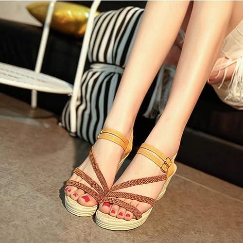 LXDABAOFA Sandales Sandales Sandales Femmes,Sandales Femmes Quartiers d'été Gladiator Sandals marron Sandales Femmes Talon Haut Chers Chaussures Sandales de Plage 150