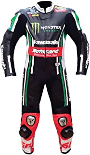 Kawasaki Mens Motorbike Leather Suit – Motorcycle Racing CE Protection Armour Biker Suit– Custom Made