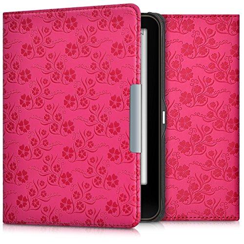 kwmobile Hülle kompatibel mit Tolino Vision 1/2 / 3/4 HD - Kunstleder eReader Schutzhülle Cover Case - Blumen Ranken Pink
