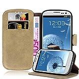Cadorabo Funda para Samsung Galaxy S3 / S3 Neo Funda de Cuero Sintético Retro en MARRÓN Apagado – Cubierta Protectora Estilo Libro Tarjetero y Función de Suporte – Etui Case Cover