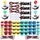 Hikig 4 Player LED Arcade Games DIY Kit, 4X Fighting Joystick + 40x LED Arcade Buttons + 4X USB Encoder for PC MAME & Raspberry Pi 1/2/3, Multicolor