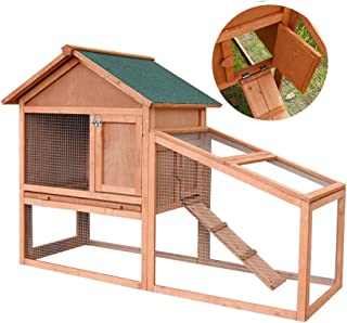 Rabbit Hutch Guinea Pig Hutch Double-Storey Pet House with Stairs Wooden Kennel Fence Practical Multi-Door Design Water Based Environmental Protection Paint (Color : Brown, Size : 143 * 64.5 * 100cm)