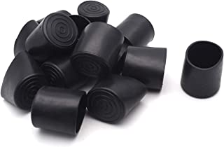 Antrader 16Pcs Round Shape PVC Rubber Covers Furniture Foot Table Chair Leg End Cap Cover Tip Protectors, 1-1/4 Inches, Black