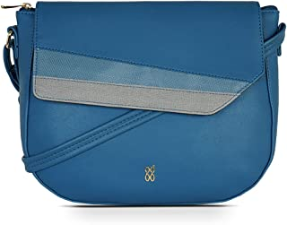 Baggit Spring-Summer 2021 Faux Leather Women's Saddle Handbag (Blue) (Fradel)