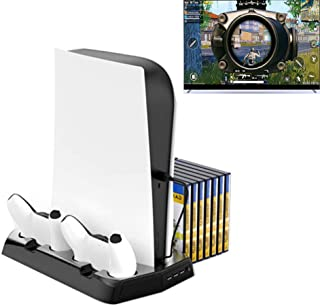 PS5 Vertical Stand Charging Cooling Stand with Cooling Fan Dual Controller Charge Station 3 HUB Port for PS5 UHD Playstati...