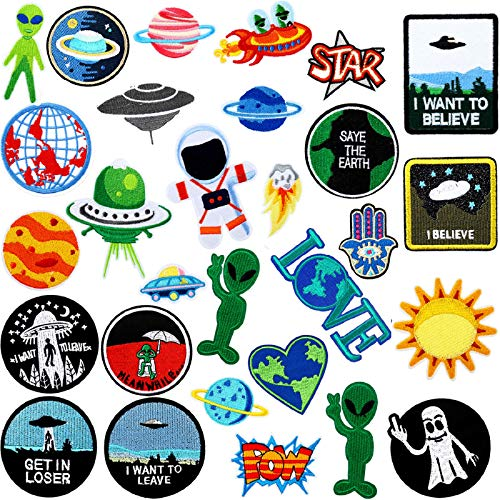30 Pieces Rock Punk Band Patch Punk Iron-on Patches Alien Embroidered Iron-on Patches for Jackets Hat Clothing Bags Decoration (Alien Series Style)