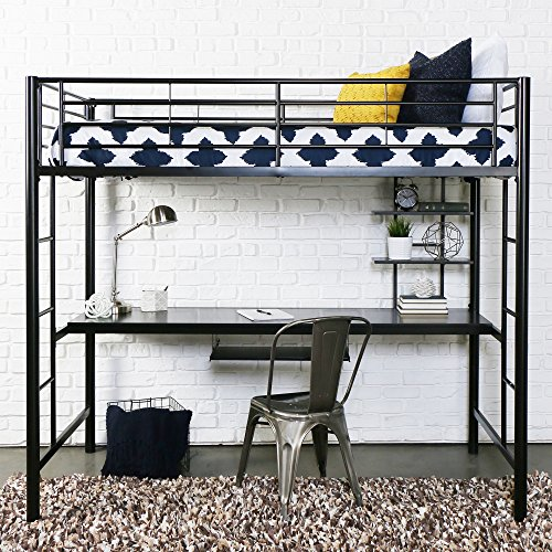 Walker Edison Furniture Premium Metal Twin Loft Bed with Detachable Wood Workstation- Black