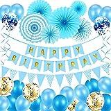 Geburtstagsdeko Kindergeburtstag Party Deko Geburtstag Luftballons Partydekoration Blau Geburtstag Dekoration Set Junge Mädchen Partyzubehör mit Happy Birthday Banner, Luftballons, Papierfächer
