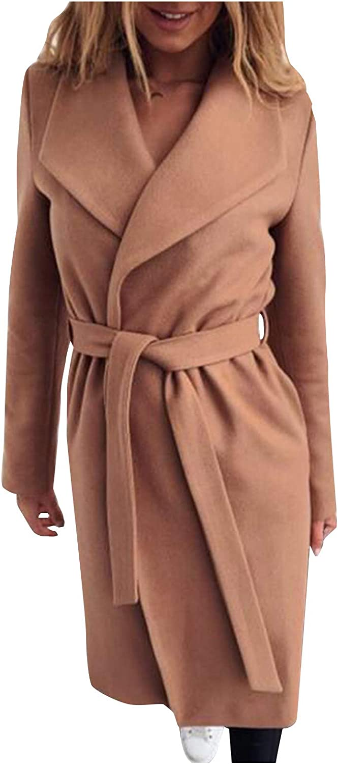 Columbus Mall Women Commfy Max 44% OFF Solid Coat Mid-Length Turn-Down Collar Outwe Jacket