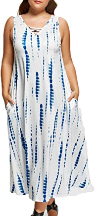 Women's Summer Dresses Sleeveless V Neck Plus Size Lace Patchwork Bohemian Casual Swing Beach Maxi Sundress